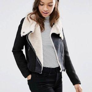 H&M Faux Shearling Moto Jacket Size 14